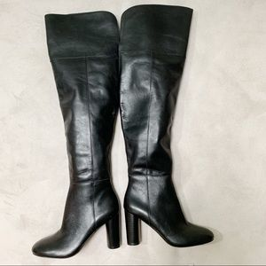 INC Black Leather High Heel Knee High Boots 6M